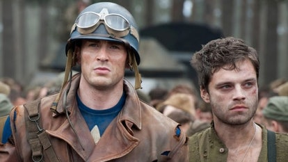A still from 'Captain America: The First Avenger,' with Bucky and Captain America walking into camp ...