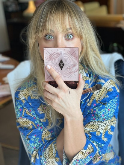 Kaley Cuoco with Charlotte Tilbury Palette
