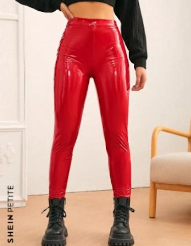 SHEIN PETITE High Waist PU Leather Pants