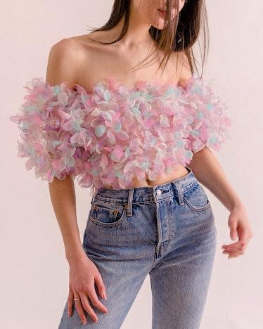pastel organza/pink crop top