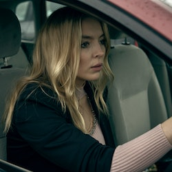 Jodie Comer sits in a car in a still from Channel 4's Help