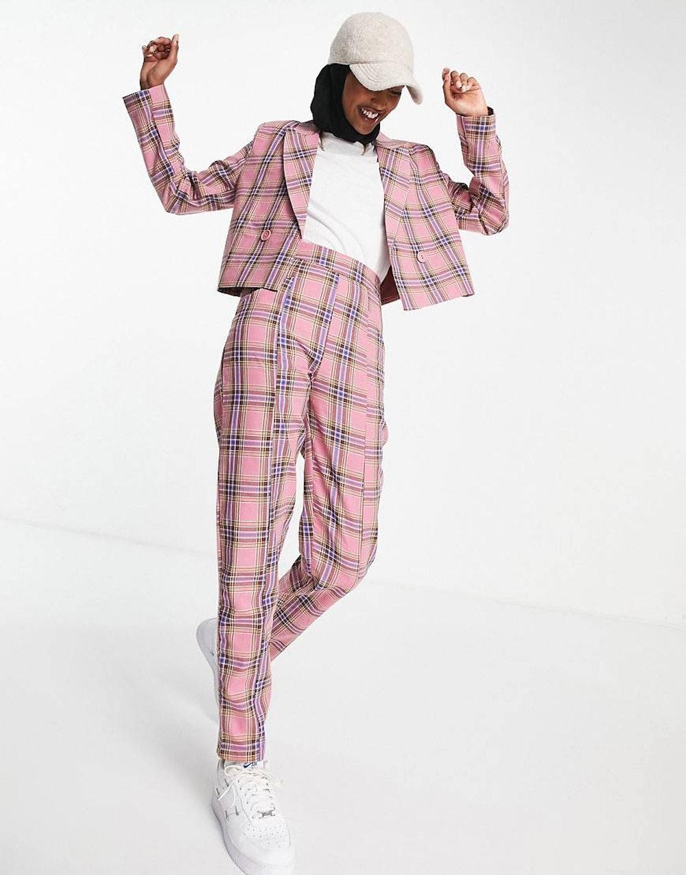 Heartbreak Tailored Pants in Pink Plaid