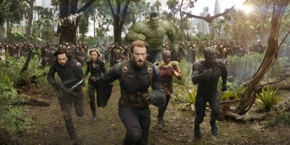 A still from 'Avengers: Infinity War,' with Captain America leading several Avengers against Thanos'...