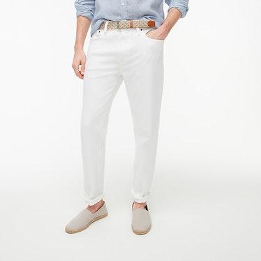 Slim fit white denim jeans