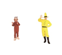 baby in curious george costume, parent in man in the yellow hat costume