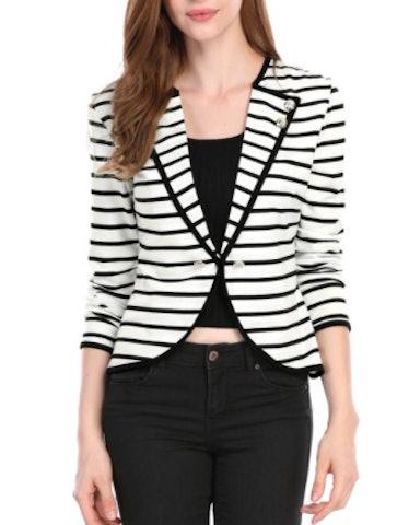 Women's Notch Lapel Striped Blazer Jacket Black