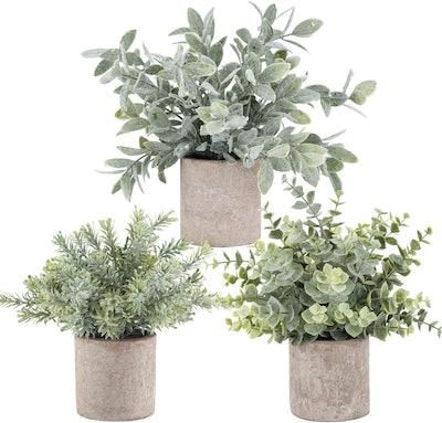 Der Rose 3 Pack Mini Potted Fake Plants