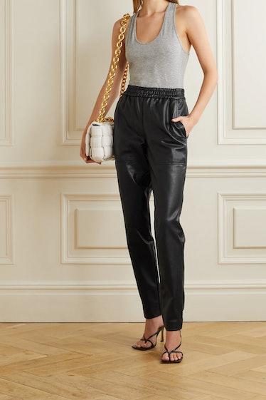 Vegan Leather Straight-Leg Pants