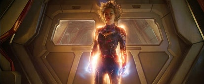A still from 'Captain Marvel' with Captain Marvel glowing and fully embracing her powers.