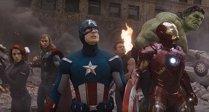 A still from 'The Avengers,' with Black Widow, Thor, Captain America, Hawkeye, Iron Man, and Hulk st...