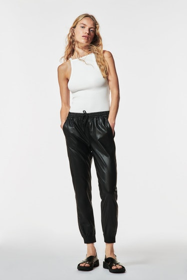 Faux Leather Jogging Pants