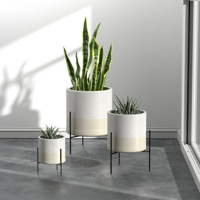 Rivet Mid-Century Ceramic Planter With Stand, 14 Inches