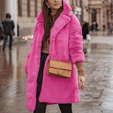 Plus Size Pink Faux Fur Mid-Thigh Coat