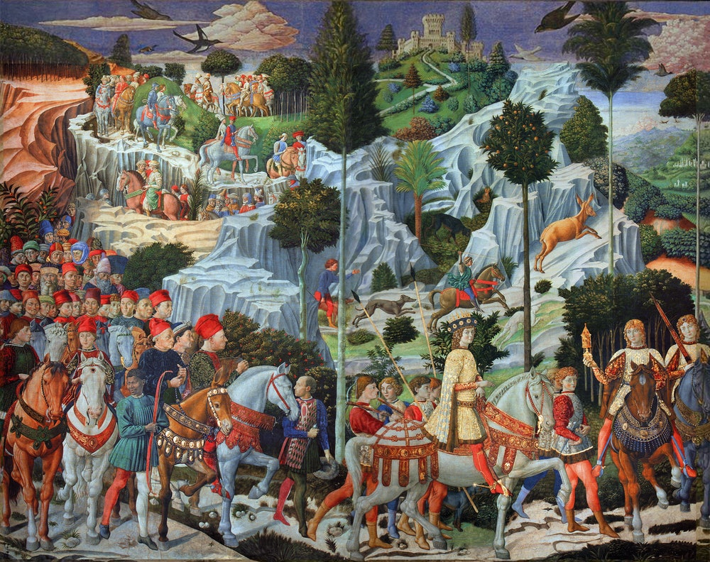 Painting titled 'The Three Magi' depicting members of the Medici family by Benozzo Gozzoli (1420-149...