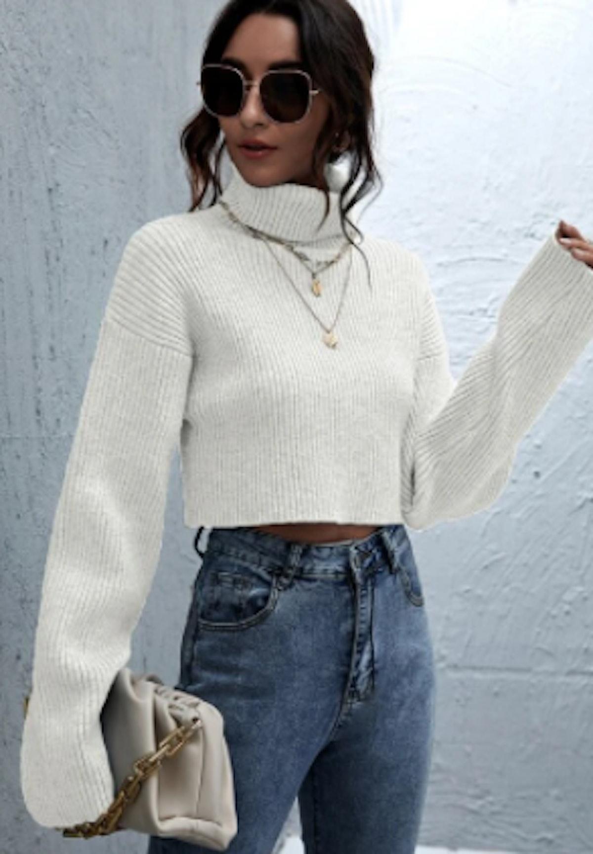 SHEIN Rolled Neck Drop Shoulder Crop Sweater