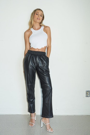 Faux Leather Contrast Seam Pant