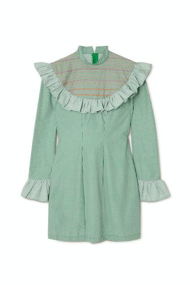 Miss Swati ruffled embroidered checked cotton mini dress Sindiso Khumalo