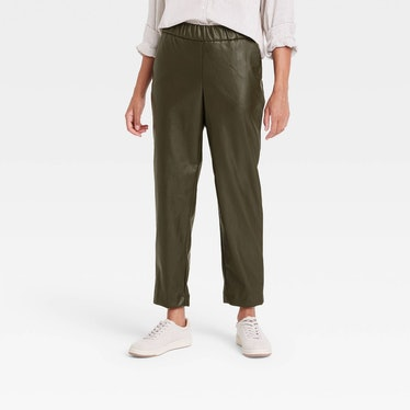 High-Rise Faux Leather Tapered Ankle Pull-On Pants