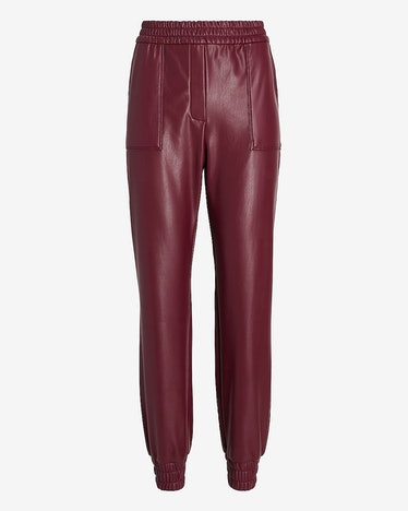 High Waisted Faux Leather Joggers