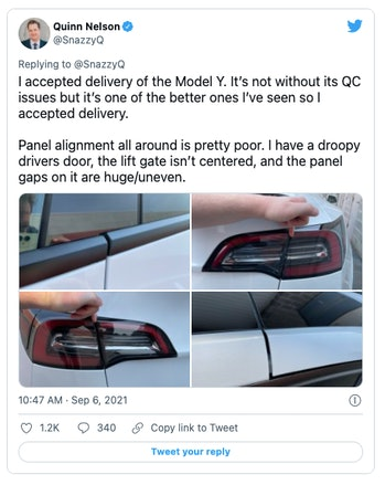 Tesla is known for delivering vehicles with poor build quality.