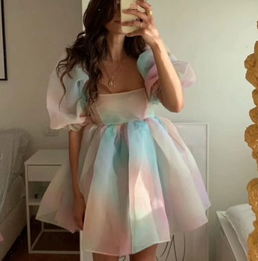 Tie-dyed Rainbow Organza Dress