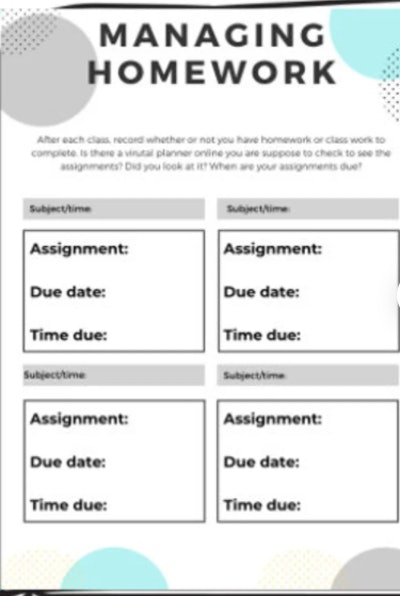 A remote learning downloadable planner