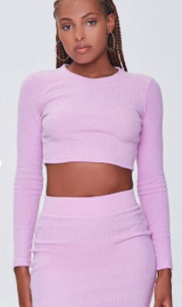 Ribbed Crop Top & Mini Skirt Set