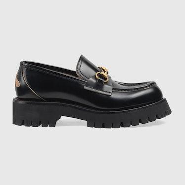 Leather Lug Sole Horsebit Loafer Gucci