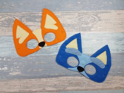 These felt costume masks can be used to make 'Bluey' Halloween costumes for girls.