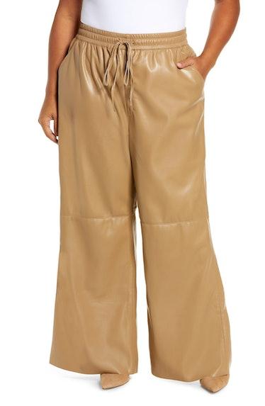 Faux Leather Wide Leg Pants