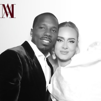 Adele and boyfriend Rich Paul posing together at a wedding