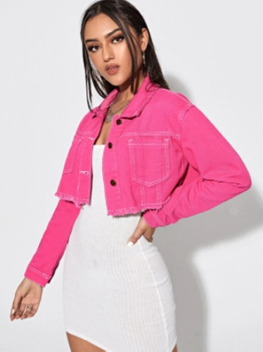 Flap Pocket Crop Denim Jacket