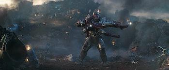 Thanos (Josh Brolin) uses Iron Man (Robert Downey Jr.) as his own personal shield in Avengers: Endga...