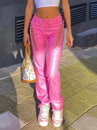Cutout Lace Up Pu Leather Pants