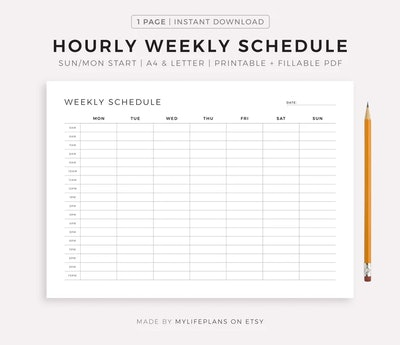 printable hourly schedule