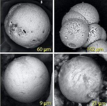Spherules made of melted sand (upper left), palace plaster (upper right) and melted metal (bottom tw...