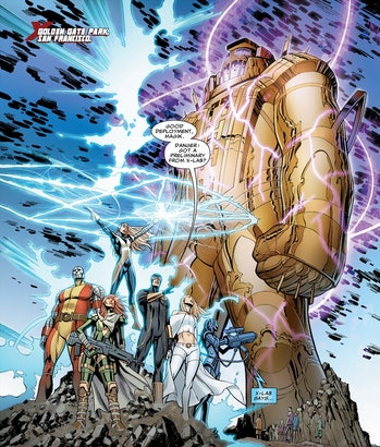 The X-Men with a Celestial in the comics.