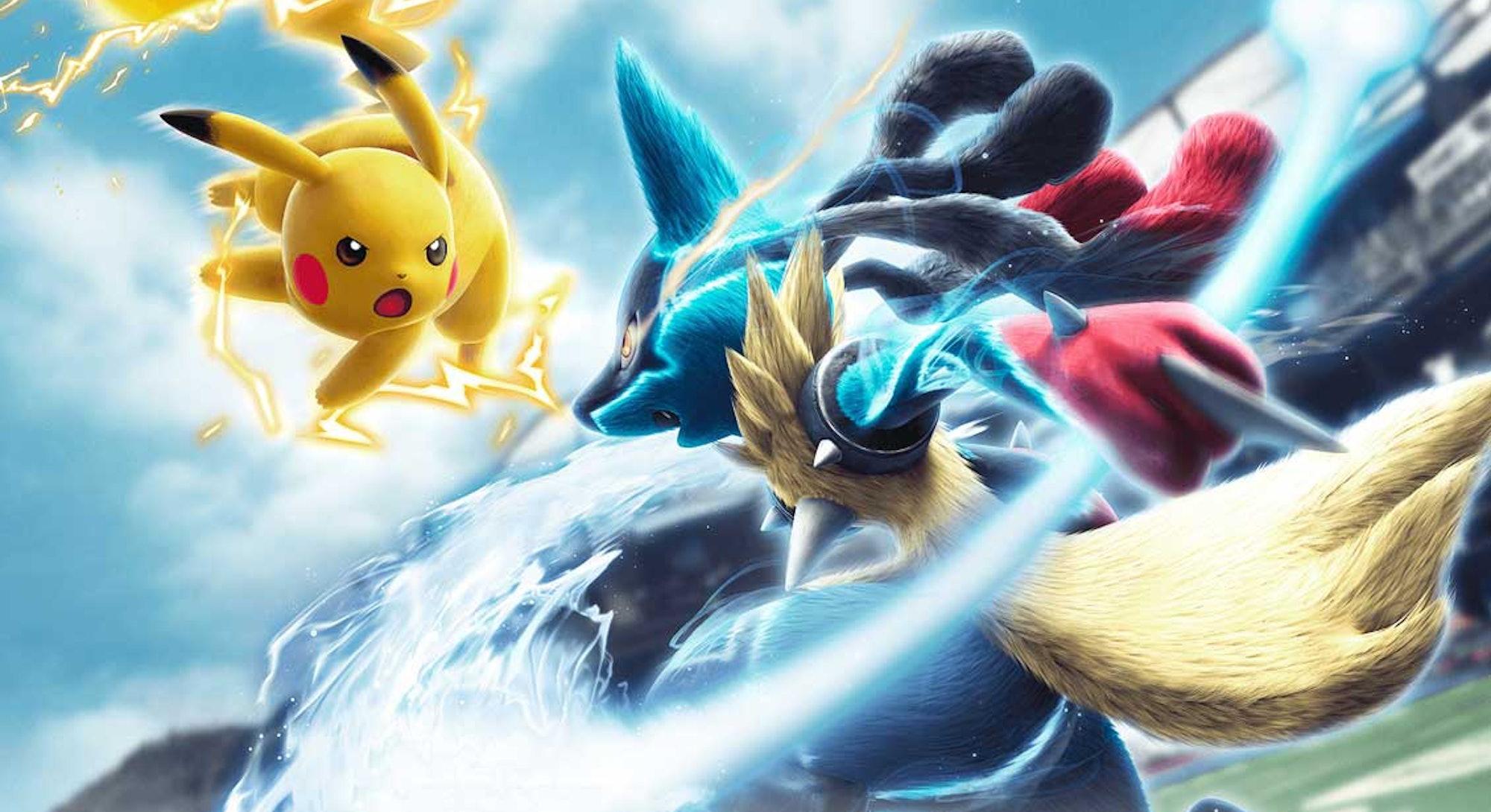 Pikachu battling Lucario in Pokken Tournament