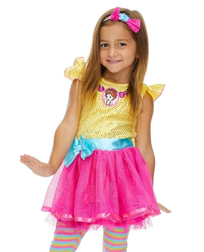 This 'Fancy Nancy' costume dress is a TV Halloween costume choice for girls.