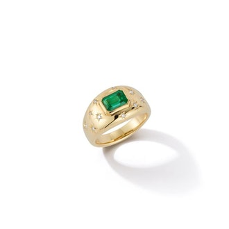 Anniversary Emerald and Diamond Gypsy engagement ring from Jemma Wynne.
