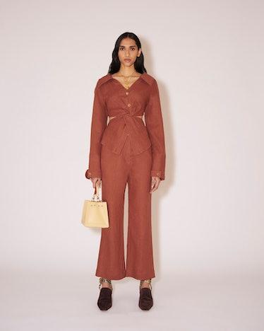 Linen Twist-Front Shirt