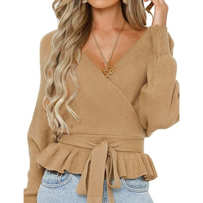 ZESICA Knitted Wrap Top