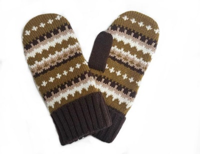 warm knitted mittens made to look like the Bernie Sanders meme