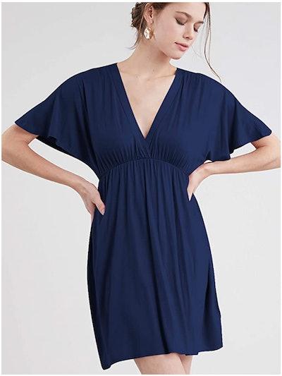 Lock and Love Women's Short Sleeve Deep V Neck Dress