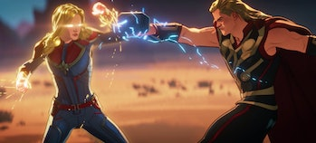 Captain Marvel (Brie Larson) and Thor (Chris Hemsworth) duking it out in What If...? Episode 7