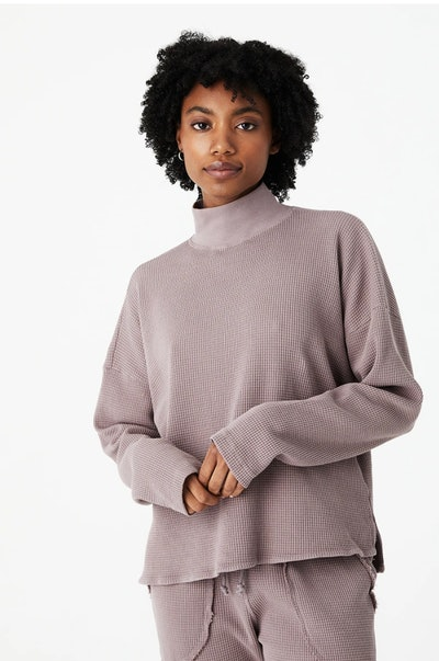 waffle turtle neck shirt from sustainable brand back beat co.