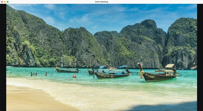 This beach Zoom background features the Phi Phi Islands in Thailand.