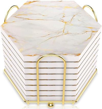Marble Design Ceramic Coasters (Set of 8)