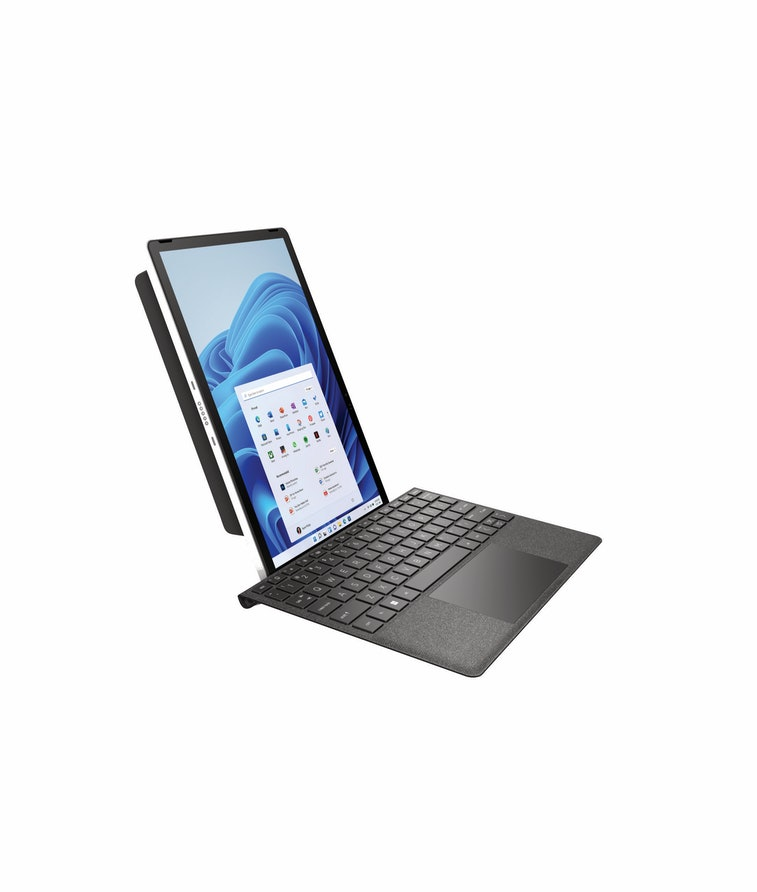 HP 11 inch Tablet PC in portrait mode on a keyboard