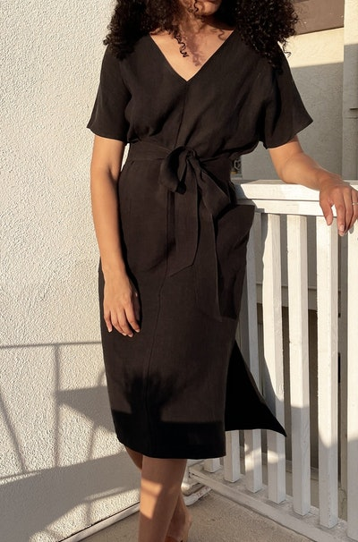 black wrap dress from Two Days Off, a sustainable clothing brand